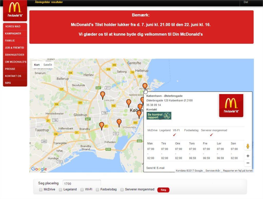 Mcdonalds åbningstider wifi mm