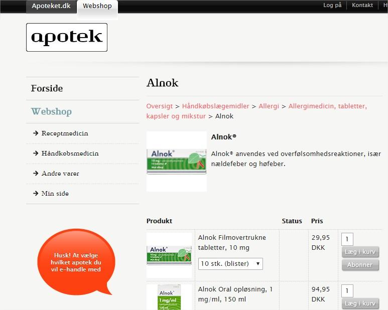 Apoteket Online webshops