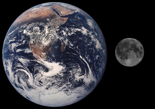 Jorden og månen sammenlignet
