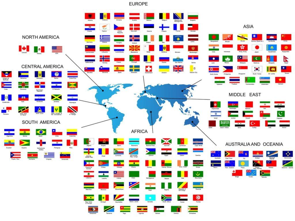Lande verden kort